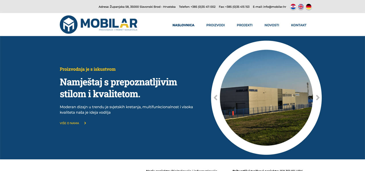 Rebranding, redizajn web stranice i dizajn logotipa - Mobilar d.o.o.