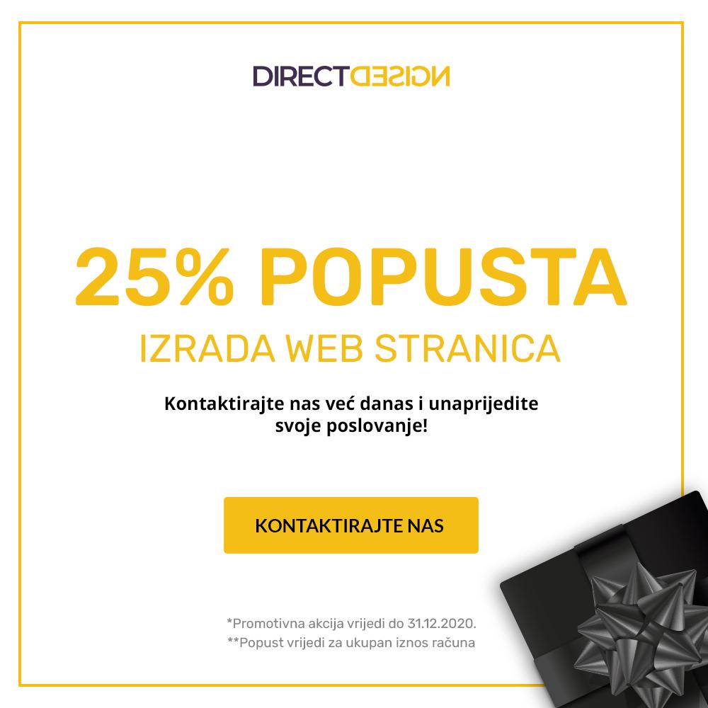 25% popusta na izradu web stranica