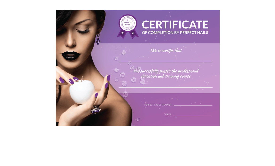 Perfect Nails Hrvatska Certificate design